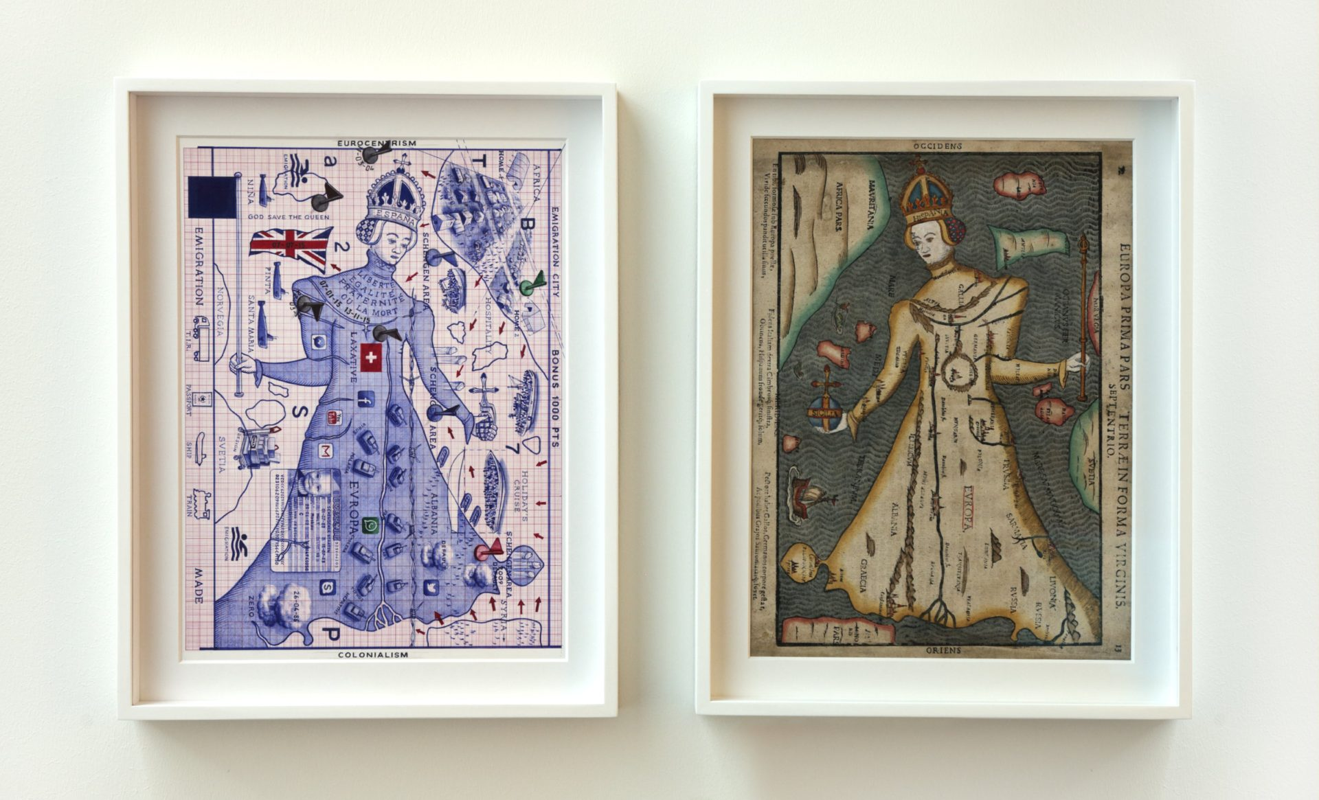 Game Over, 2016 / 1581. Diptych: bic pen on paper; Einrich Bunting, Europa prima pars Terrae in forma virginis, xylography, colored by hand, from Itinerarium Sacrae Scripturae 45 x 35,5 cm each